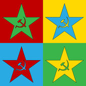 Pop art communism star symbol icons. — Stock Vector