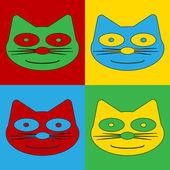 Pop art cat symbol icons. — Vetor de Stock