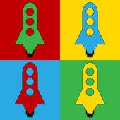 Pop art starting rocket symbol icons. — Stock Vector