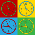 Pop art clock symbol icons. — Stock Vector #67888791