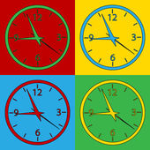 Pop art clock symbol icons. — Vetor de Stock