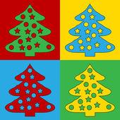 Pop art christmas tree symbol icons. — Stock Vector