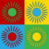 Pop art sun symbol icons. — Stock Vector