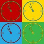 Pop art clock symbol icons. — Stock Vector #68090021