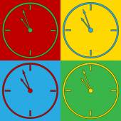 Pop art clock symbol icons. — Vector de stock