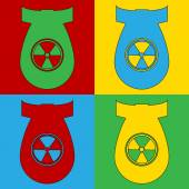 Pop art atom bomb symbol icons. — Stock Vector