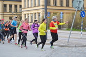 Big group of runners in the Stockholm. — Foto de Stock