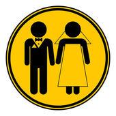 Wedding couple button. — Stock Vector