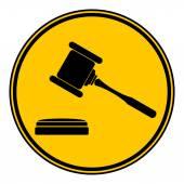 Judge gavel button. — Stock Vector