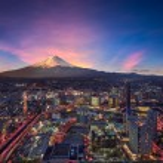 Surreal view of Yokohama city and Mt. Fuji — Stock Photo #75936293