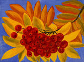 Ash berries, oil painting — Stock Photo