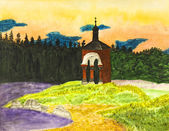 Landscape with chapel — Stock Photo