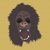 Horrible gorilla head — Stock Vector
