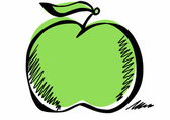 Doodle green apple — Stockfoto