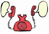 Red retro telephone and speech bubble — 图库照片