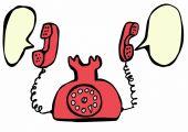 Red retro telephone and speech bubble — Photo