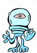 Doodle alien spaceman — Stock Photo