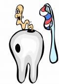 Cartoon teeth, toothpaste, toothbrush and caries — Stock Photo