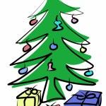 Hand drawn Green Christmas tree — Stock Photo #53677699