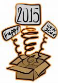 Editable Happy New Year 2015 layer label surprise box — Stock Photo