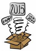 Editable Happy New Year 2015 surprise box — Stock Photo