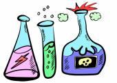 Doodle chemistry laboratory — Stok fotoğraf