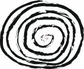 Doodle line spiral, charcoal line art — Stock Photo