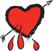 Doodle heart and cupid arrow — Stock Photo