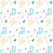 Doodle pattern musical notes seamless texture — Stock Photo #56487565