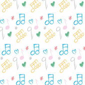 Doodle pattern musical notes seamless texture — Stock Photo