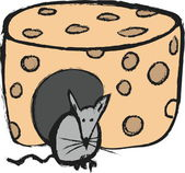 Doodle concept mouse and cheese — Stock Photo