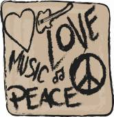 Doodle icon grunge Peace, Love and Music isolated — Foto de Stock
