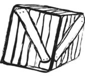 Doodle grunge wooden crate — Stock Photo