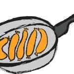 Doodle pan and  sausages — Stock Photo #58522951