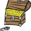 Doodle treasure chest with golden coin — Stock Photo #59151899