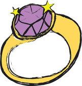 Cartoon diamond wedding ring — Stock Photo