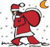 サンタ クロースのクリスマス プレゼントのかばんと — ストック写真