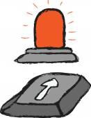 Cartoon  warning bulb — Fotografia Stock