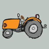 Cartoon retro tractor — Stock Photo