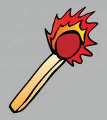 Cartoon flaming match isolated illustration — Stock Photo