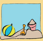 Cartoon bucket, ball, sand, beach — Stock Photo