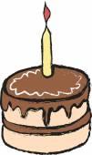 Cartoon birthday cake — Stock Photo
