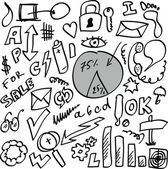 Set doodle abstract business icons — Stock Photo