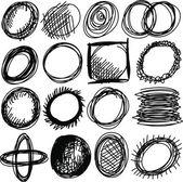 Doodle, set hand drawn shapes circle — Stock Photo
