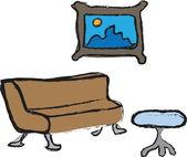 Cartoon furniture icons — Stock Photo