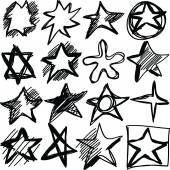 Star doodles, hand drawn  illustration — Stock Photo