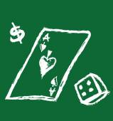Gambling  illustration with playing cards, dice and symbol dollar — Stock Photo