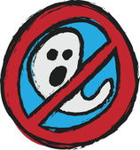 Prohibition sign with ghost for Halloween, cartoon — Foto de Stock