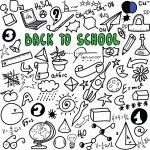 Back to school big doodles set isolated on white background, cartoon  illustration design elements — Stock Photo #63740233