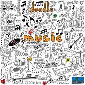 Big set doodle music symbols isolated on white background — Foto Stock